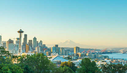 scenic view of downtown seattle city in the morning.