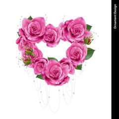 Rose heart wreath. Vector, illustration.