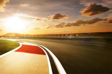 Wall Mural - Motion blurred racetrack,sunset mood mood