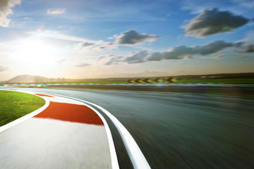 Wall Mural - Motion blurred racetrack,cold mood