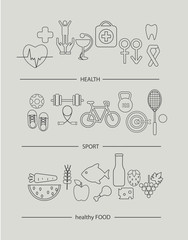 Modern thin line icons set of healthy lifestyle concept. Simple mono linear pictogram pack of health, food and sport. Stroke vector logo concept for web graphics, vector illustration.