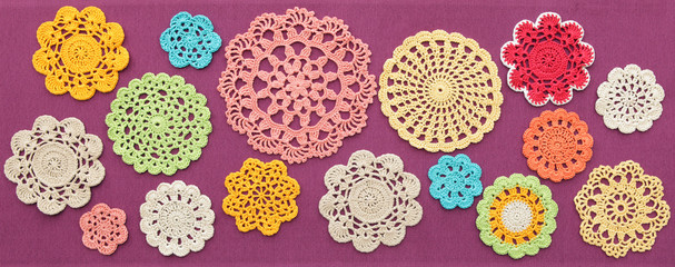 The wonderful colored crochet doilies