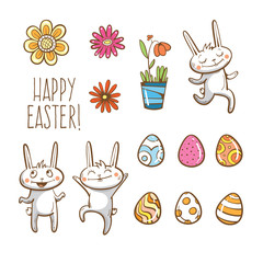 Vector Easter set. Easter rabbits, eggs and flowers.