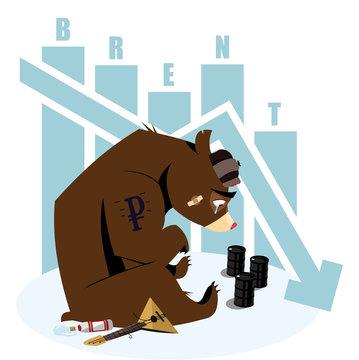 Vector illustration - Russian crisis, sad bear with oil brent barrel