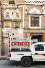 pickup truck in sanaa city in yemen