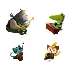 Clip Art Set: Happy Friends Playing Music Instruments. Raccoon Plays Cello; Crocodile Plays Piano, etc. Realistic Fantastic Cartoon Style Artwork Scene, Wallpaper, Story Background, Card Design