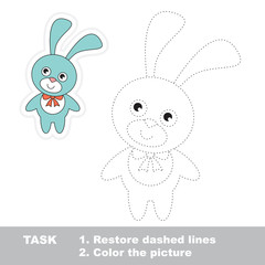 Blue Bunny to be traced. Vector trace game.