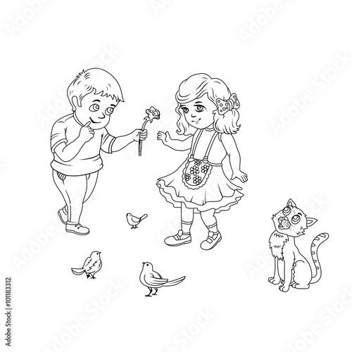 Line Art / Coloring Book Illustration for Children: Shy Boy Send ...
