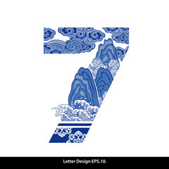 Vector of Oriental Style Number Seven. Traditional Chinese style