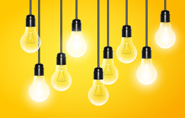Hanging light bulbs with a few glowing on yellow background. Vector illustration for your design.