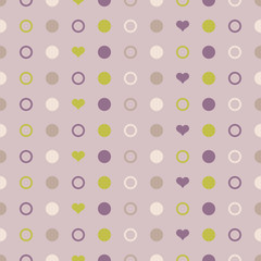 Seamless vector decorative background with hearts and polka dots