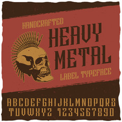 Handcrafted Heavy Metal Label Typeface. Good font for any labels. Excellent font for any labels - whiskey, bourbon, scotch, beer, wine, brandy etc.