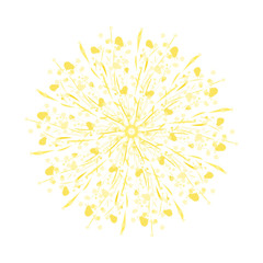 Stylized Watercolor Yellow Dandelion
