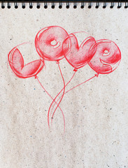 Flying Balloon Shape Love St. Valentine's Day. Graphic illustration