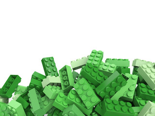 3D rendering of toy building bricks in green shades with lots of