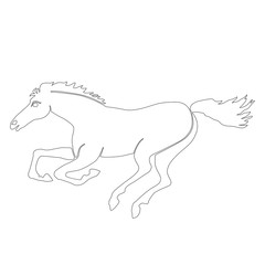 horse running silhouette black white