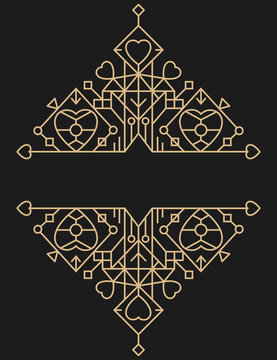 Retro gold lines luxury design element with heart shapes