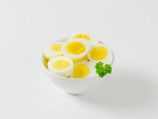 Halved hard boiled eggs