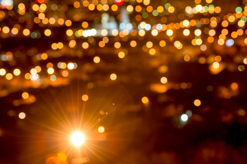 abstract circular bokeh background, city lights in the twilight
