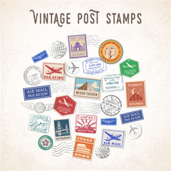 Vector Travel Stamps Design