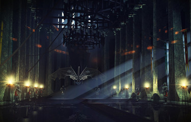 Throne hall 3d picture created without any references
