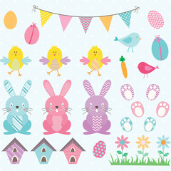 Easter Bunny Chicks Collections.Bunting Banner,Easter Eggs,Flower,Bird House.