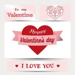 happy valentines day cards with ornaments, hearts, ribbon, typography
