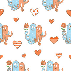 Vector seamless pattern by Valentine's Day with cartoon octopuses in love on  white background.