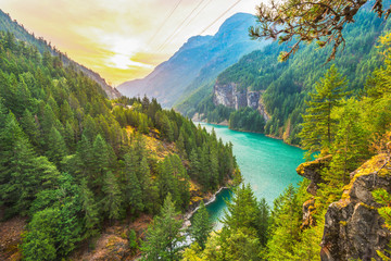 scene over Diablo lake when sunrise in the early morning in North cascade NP,WA,usa.