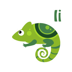 Iguana. Funny Alphabet, Animal Vector Illustration