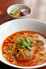 Curried noodles soup with chicken, Chiang Mai noodles