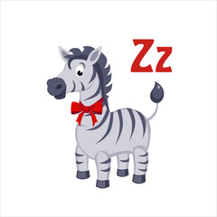Zebra. Funny Alphabet, Animal Vector Illustration