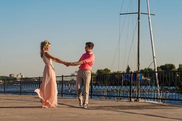 Couple walks