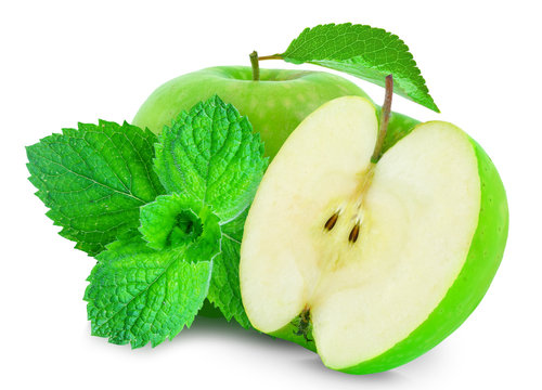 apple and mint isolated
