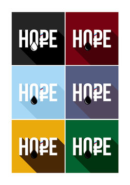 Russian crisis - hope, vector flat text with rouble