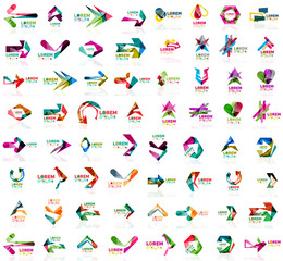 Set of geometric design arrow icons