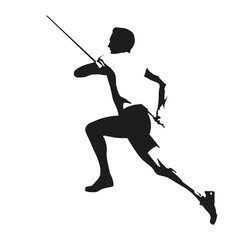 Pole vault vector draving silhouette