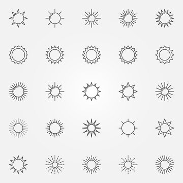 Sun line icons set