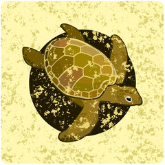 Vintage wallpaper with the image of a turtle