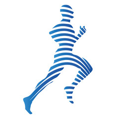 Sports, runnig man, vector isolated silhouette. Abstract blue lo