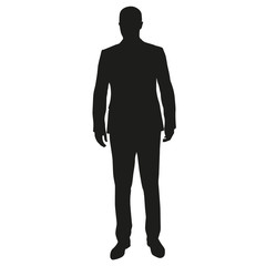 Businessman standing. Front view of man in suit, vector silhouet
