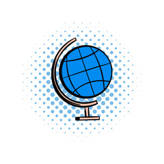 School geographical globe comics icon