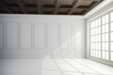 3d render of beautiful interior with white walls and wood ceiling setup