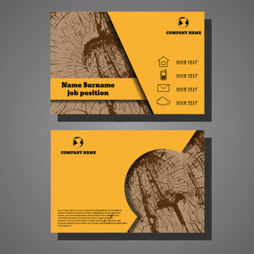 Vector abstract creative wooden design business cards eps 10