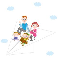 紙飛行機と親子