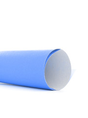 Blue paper letter roll scroll side isolated on white background