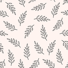 Abstract seamless hand drawn floral texture, leaves motive, vector illustration