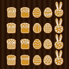 Set Easter cookies icons egg ,Easter cake, rabbit