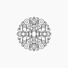Abstract line art logo template, round design element, vector illustration