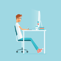freelance  working on workplace.  web design. business character.people working in office